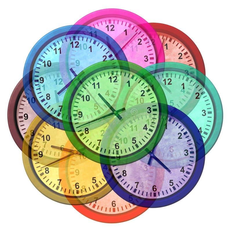 Strefa czasowa zegary royalty ilustracja