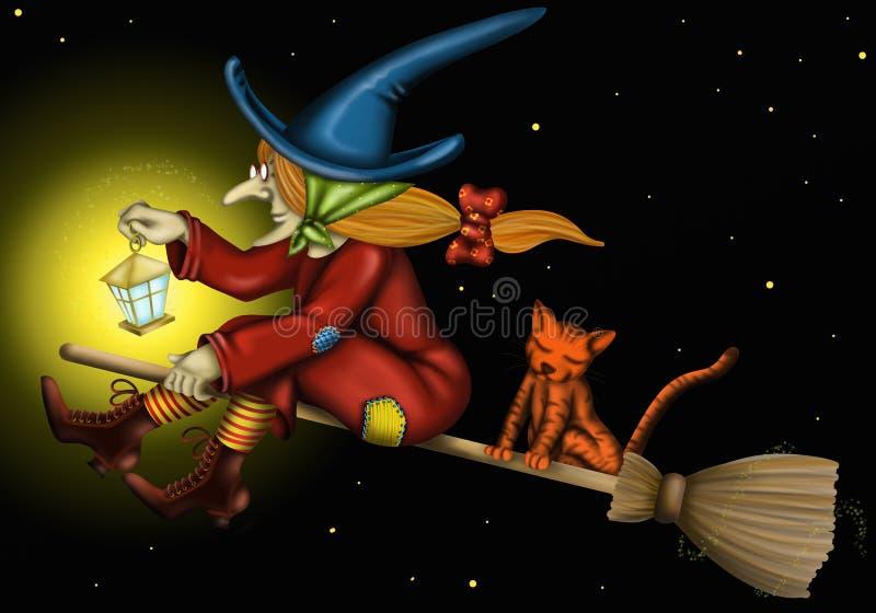 Strega con il gatto e la luce illustrazione vettoriale