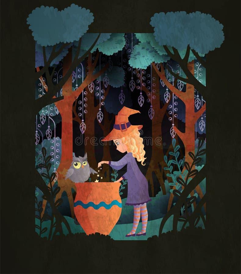 Strega con un calderone in modello spaventoso della copertina di libro di fiaba della foresta di notte o del manifesto di Hallowe illustrazione vettoriale