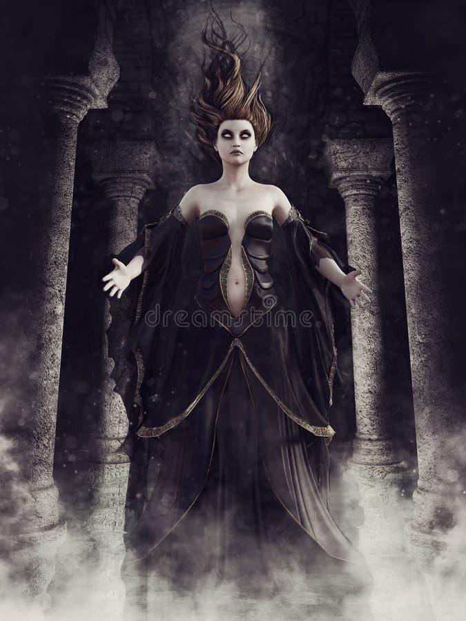 Strega del fantasma in una cripta royalty illustrazione gratis