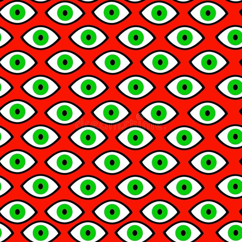 Strega dell'occhio verde, Halloween, modello senza cuciture psichedelico illustrazione vettoriale