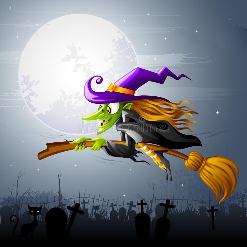 Strega di Halloween di volo illustrazione di stock