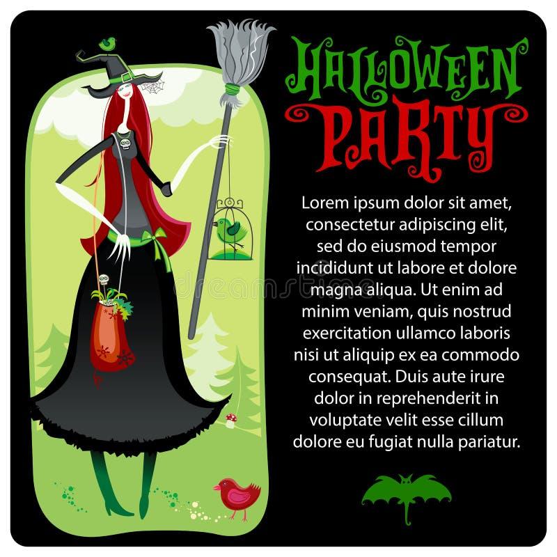 Strega di Halloween Modello di vettore Serie di Halloween illustrazione di stock