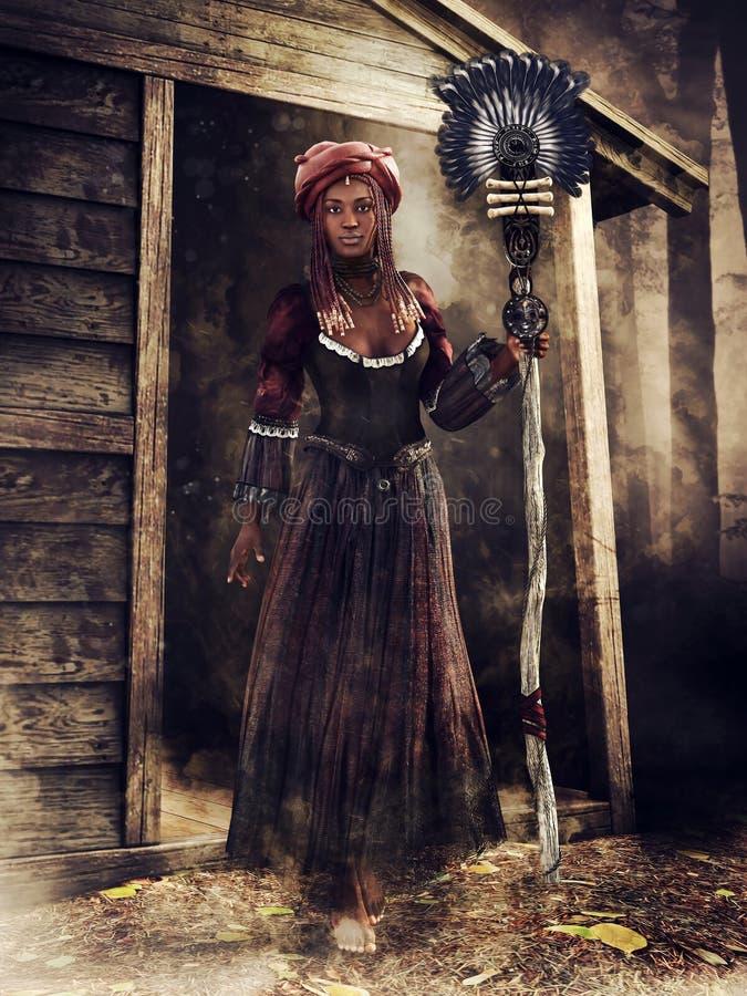 Strega di voodoo con un personale royalty illustrazione gratis