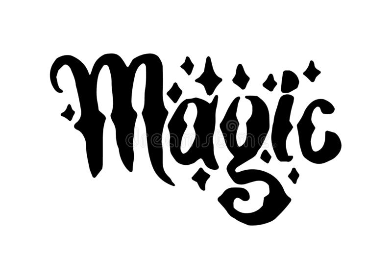 Strega disegnata a mano di vettore ed illustrazione magica dell'iscrizione di parola su fondo bianco illustrazione vettoriale
