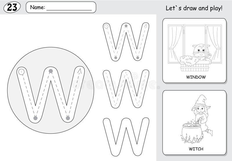 Strega e finestra del fumetto Foglio di lavoro di rintracciamento di alfabeto: scrittura del A illustrazione vettoriale