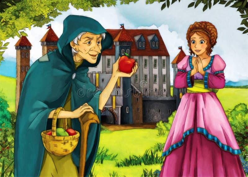 Strega e giovane donna anziane illustrazione di stock