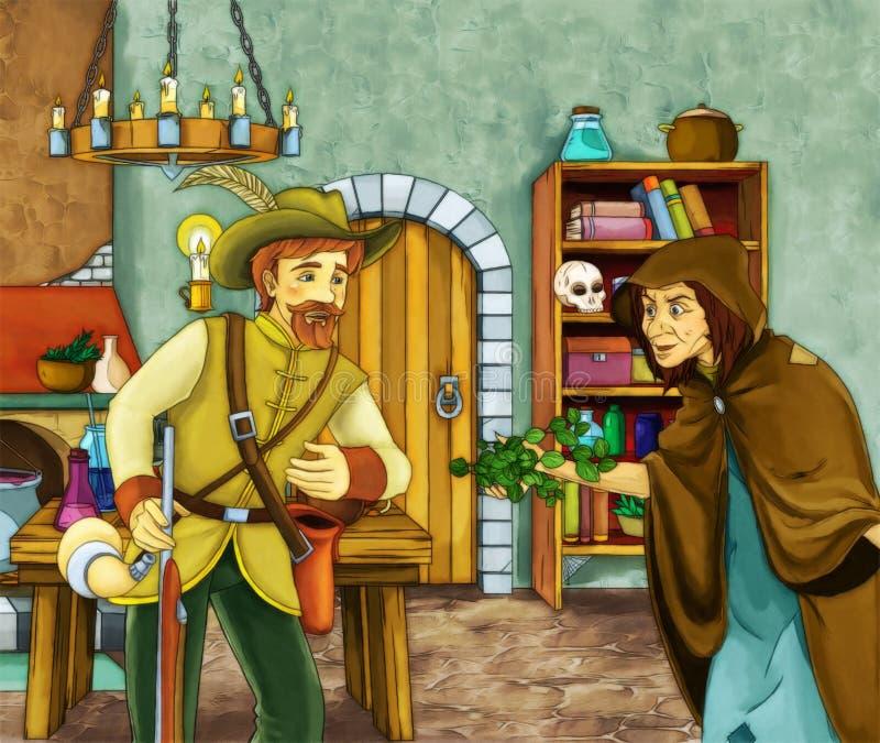 Strega ed il cacciatore nella vecchia stanza illustrazione di stock
