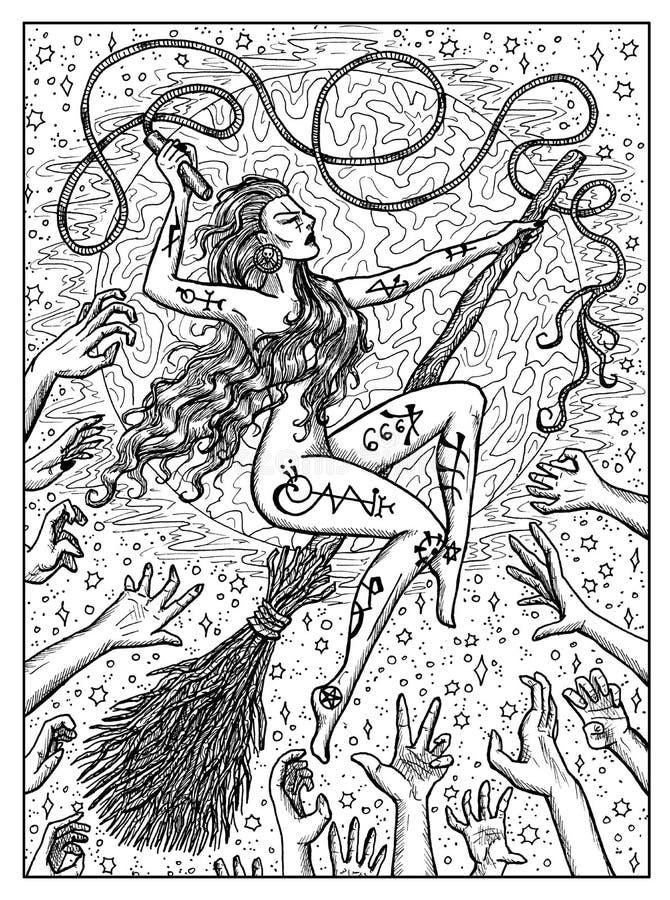Strega sul broomstick Concetto mistico in bianco e nero per la carta di tarocchi di oracolo di Lenormand illustrazione di stock