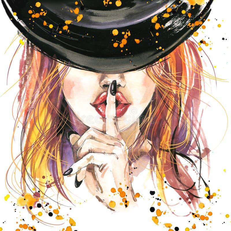 streghe della ragazza dell'illustrazione dell'acquerello e partito di Halloween royalty illustrazione gratis