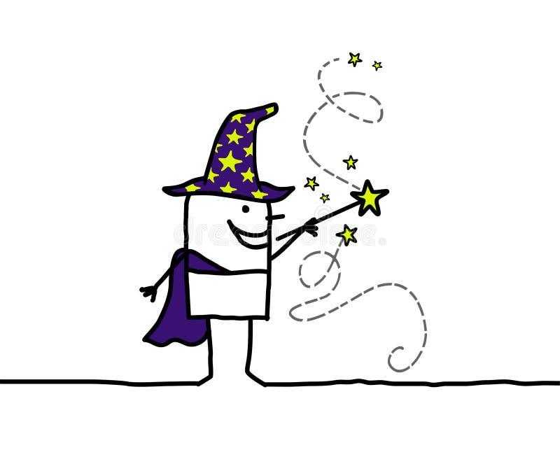 Stregone & bacchetta di magia illustrazione di stock