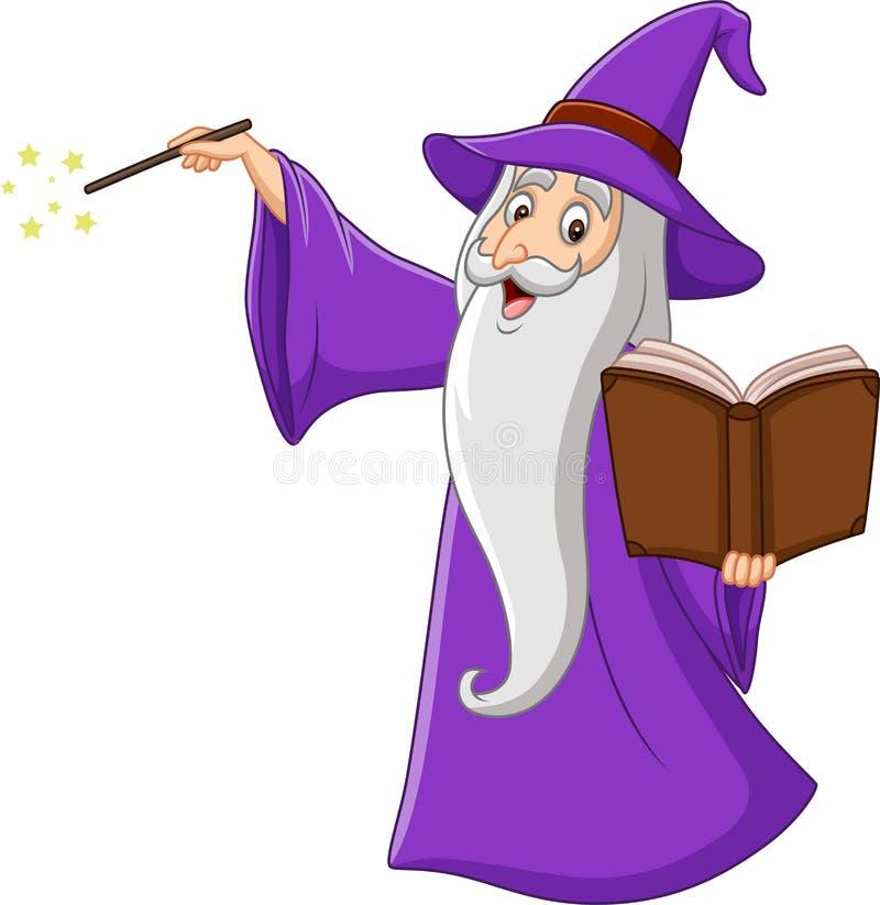 Stregone anziano del fumetto che tiene un libro magico illustrazione vettoriale
