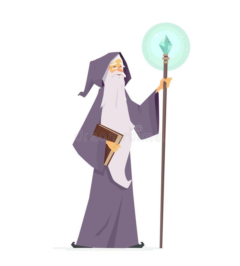 Stregone con il libro e la bacchetta magici - illustrazione dei caratteri della gente del fumetto illustrazione vettoriale