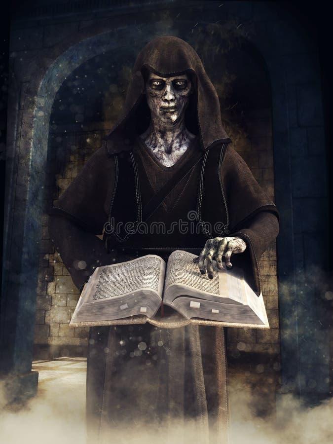 Stregone del non morto con un libro magico royalty illustrazione gratis