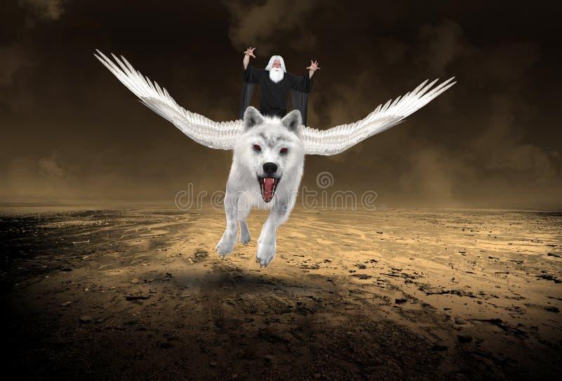 Stregone diabolico, lupo bianco volante immagine stock
