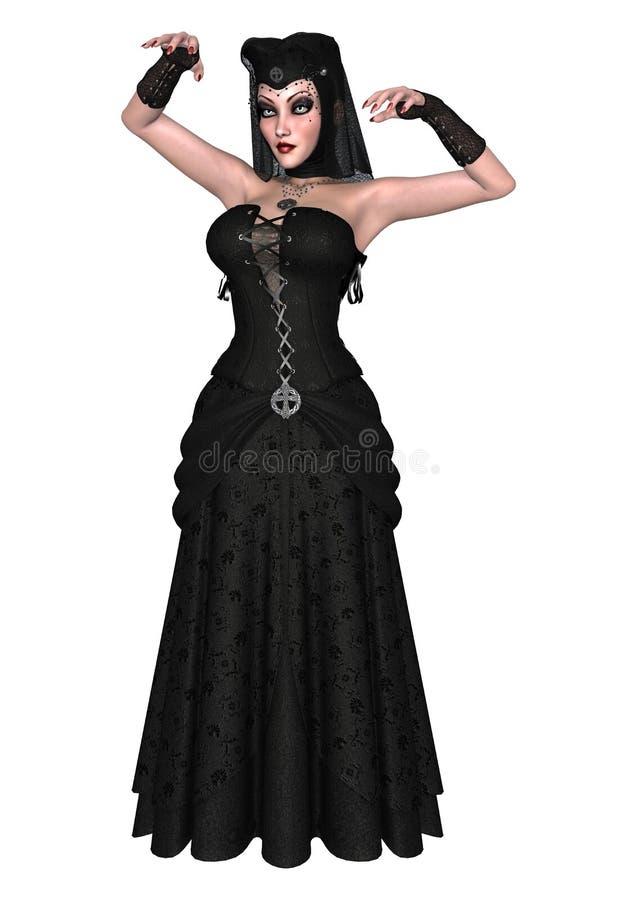 Stregone femminile nero illustrazione di stock