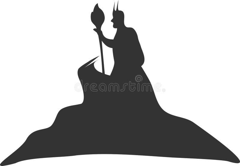 Stregone scuro magico su una montagna con la bacchetta illustrazione di stock