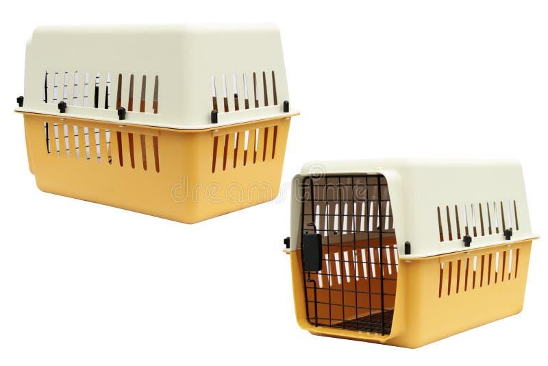 Streicheln Sie Fördermaschinengelb für das Reisen mit einem Haustier auf lokalisiertem Weiß lizenzfreie stockbilder