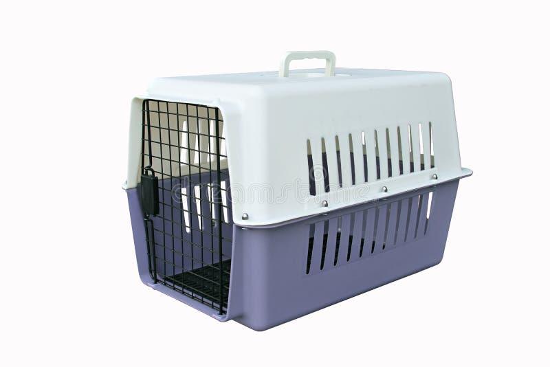 Streicheln Sie Fördermaschinenpurpur für das Reisen mit einem Haustier auf lokalisiertem Weiß stockbilder