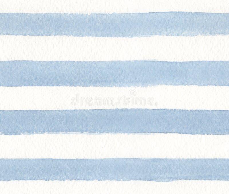 Streifen der blauen Farbe auf Weißbuchhintergrund Nahtloses Muster des Aquarells lizenzfreie abbildung