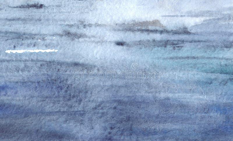 Streifenbeschaffenheitshintergrund des blauen Wassers der Aquarellmarine vektor abbildung