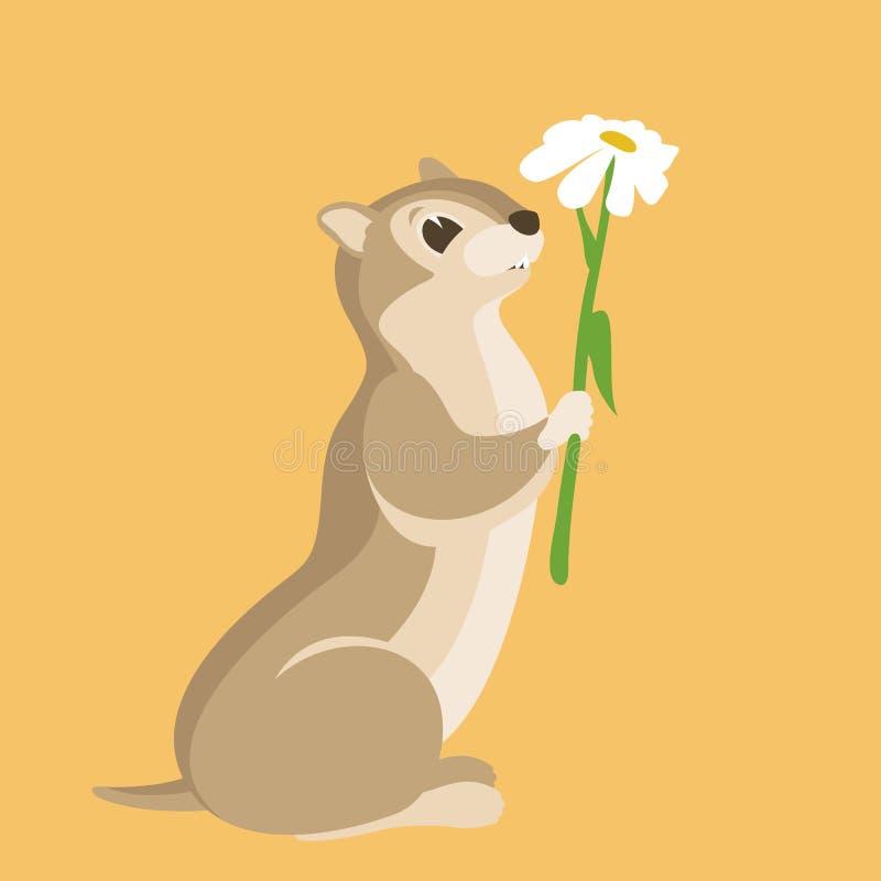 Streifenhörnchen und Blume vector flaches Artprofil der Illustration vektor abbildung