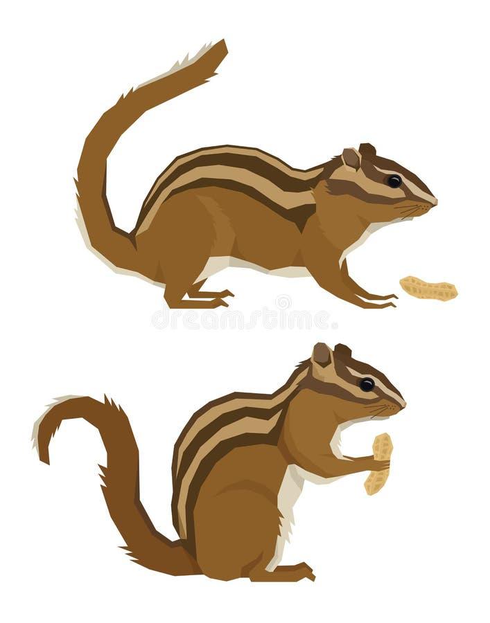 Streifenhörnchen und Erdnüsse Forest Wildlife Vector-Tiere geometrischen Stils vektor abbildung