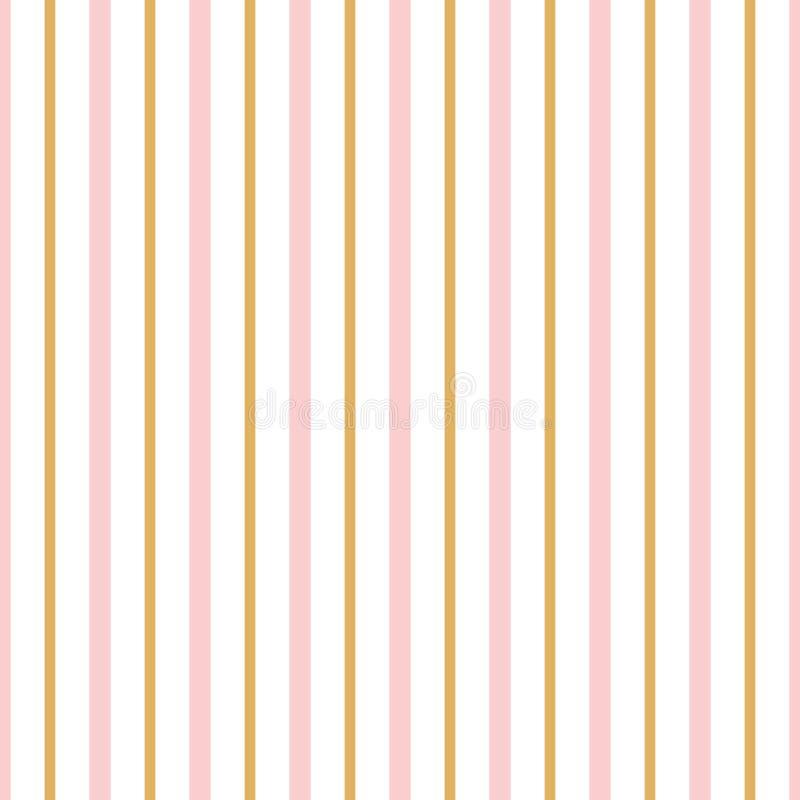 Streifte nahtlose Mustervertikale des Vektors die geometrische goldene Verzierung, rosa Linien Hintergrundtapete für Baby vektor abbildung
