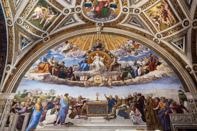 Streitgespräch des heiligen Sakraments stockbilder