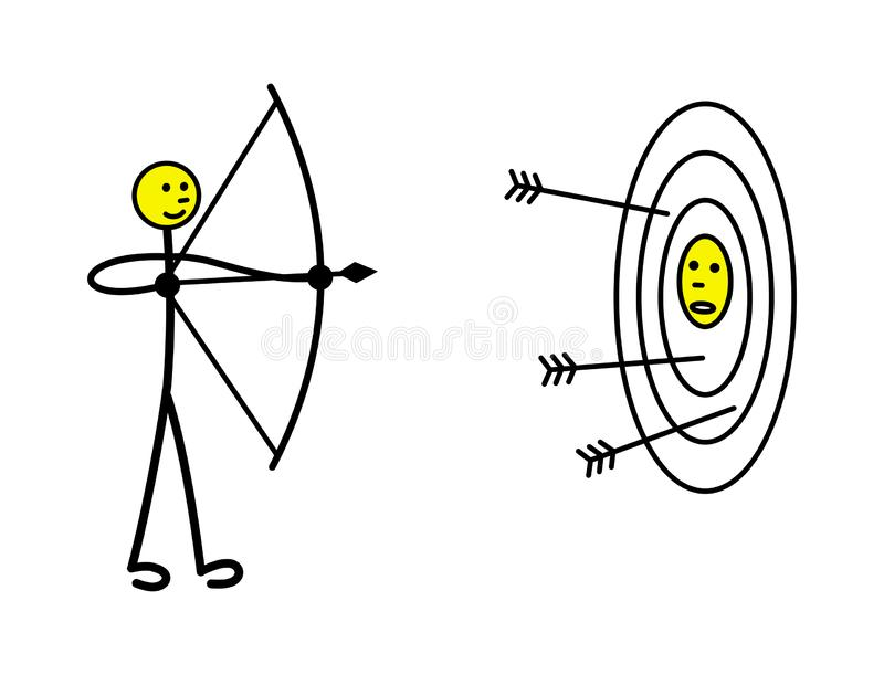 A little man shoots a bow from a target, on which his competitor is drawn. Metaphor. Vector. vector illustration