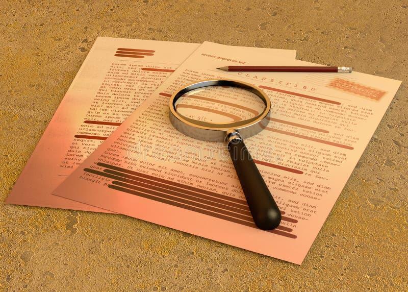 Streng geheim Dokument, deklassiert, vertrauliche Information, geheimer Text Nicht ?ffentliche Informationen Blatt Papier mit kla vektor abbildung