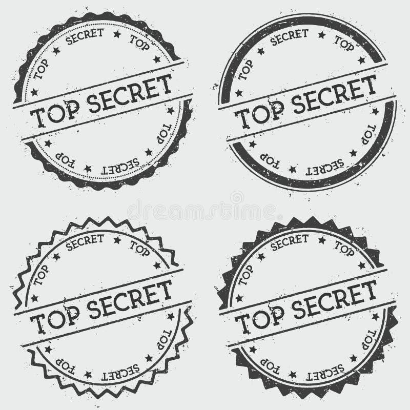 Streng geheim Insignienstempel lokalisiert auf Weiß stock abbildung