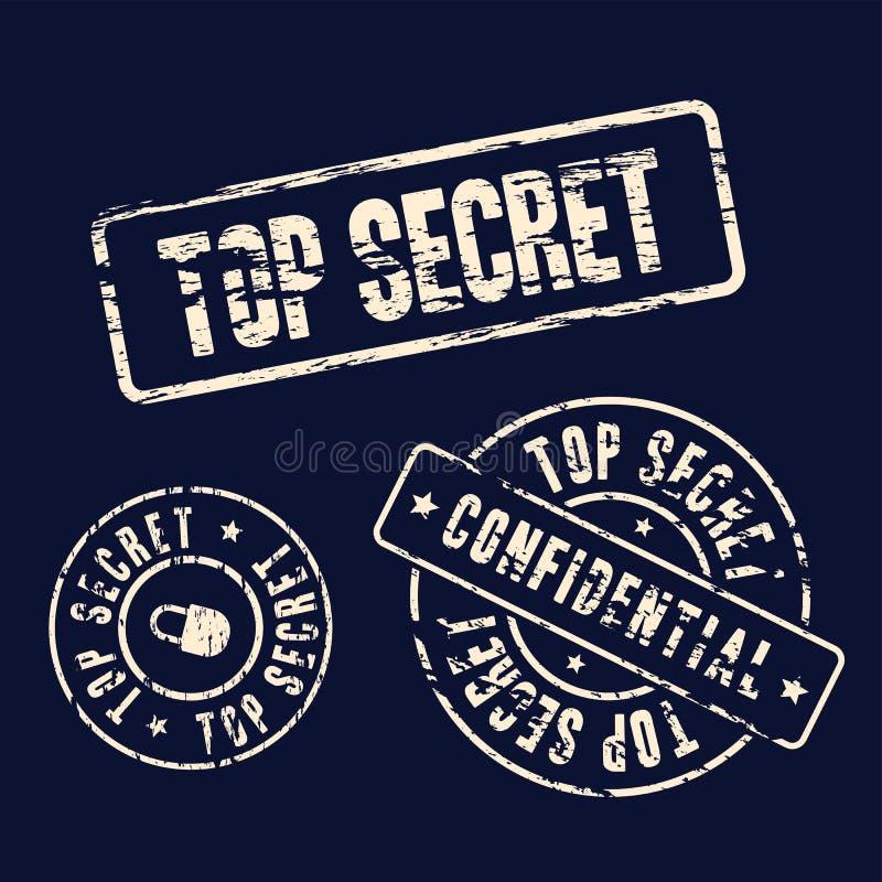 Streng geheim Stempelsatz lizenzfreie abbildung