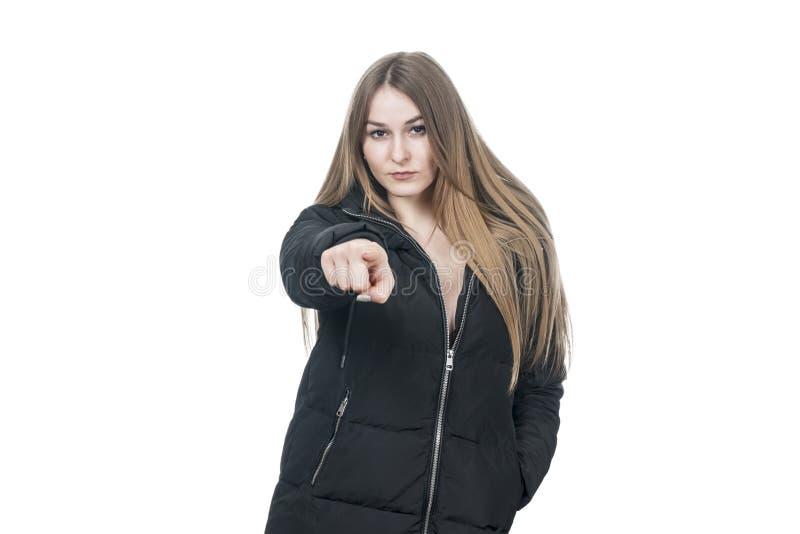 Strenger Frauenpunktfinger lizenzfreie stockfotografie
