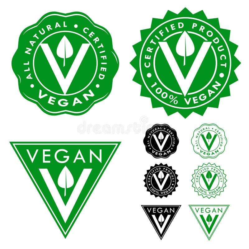 Strenger Vegetarier bestätigte die eingestellten Dichtungs-Ikonen vektor abbildung