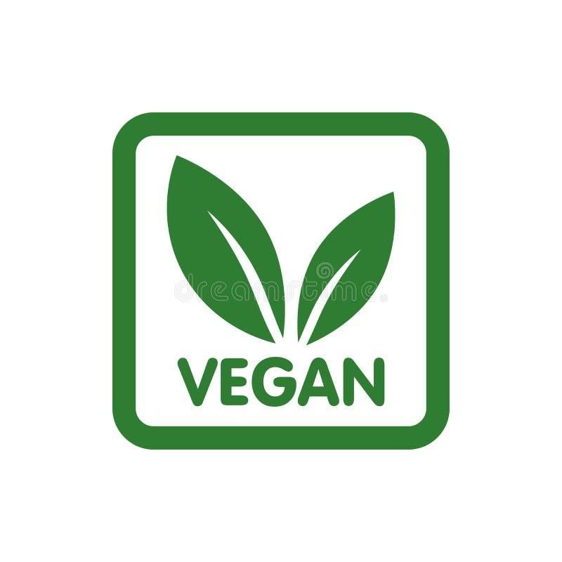 Strenger Vegetarier Bio, Ökologie, organisches Logo und Ikone, Aufkleber, Umbau Grüne Blattikone auf weißem Hintergrund vektor abbildung