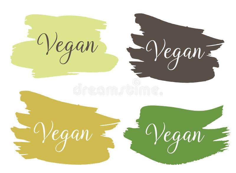 Strenger Vegetarier Bio, ?kologie, organisches Logo und Ikone, Aufkleber, Umbau Strenger Vegetarier, rohe, gesunde Nahrungsmittel lizenzfreie abbildung