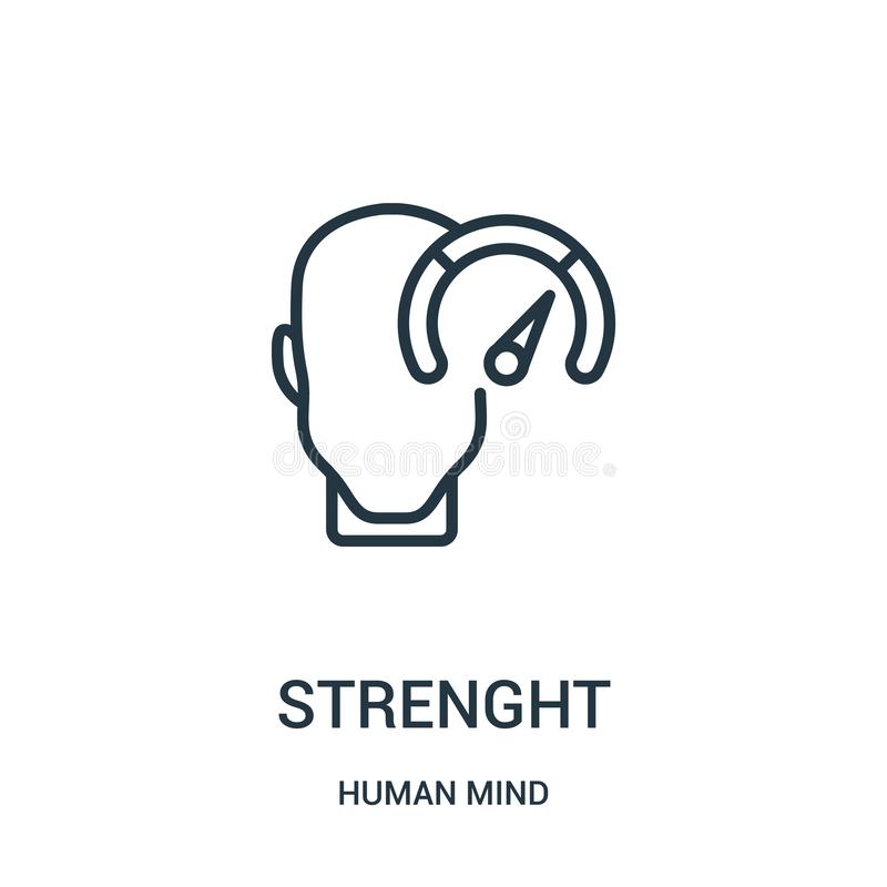 Strenght icon vector from human mind collection. Thin line strenght outline icon vector illustration. Linear symbol for use on web. And mobile apps, logo, print vector illustration