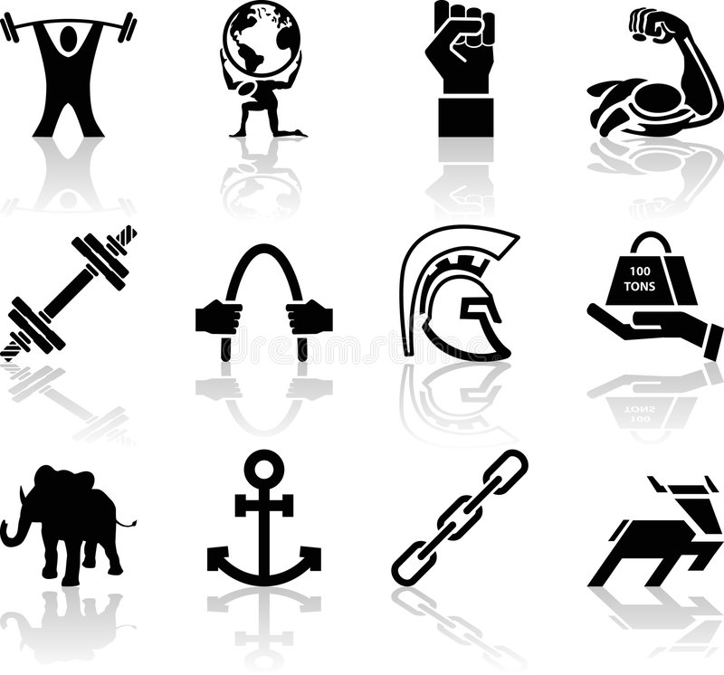Strength Icon Set Series Design Elements. A conceptual icon set relating to strength