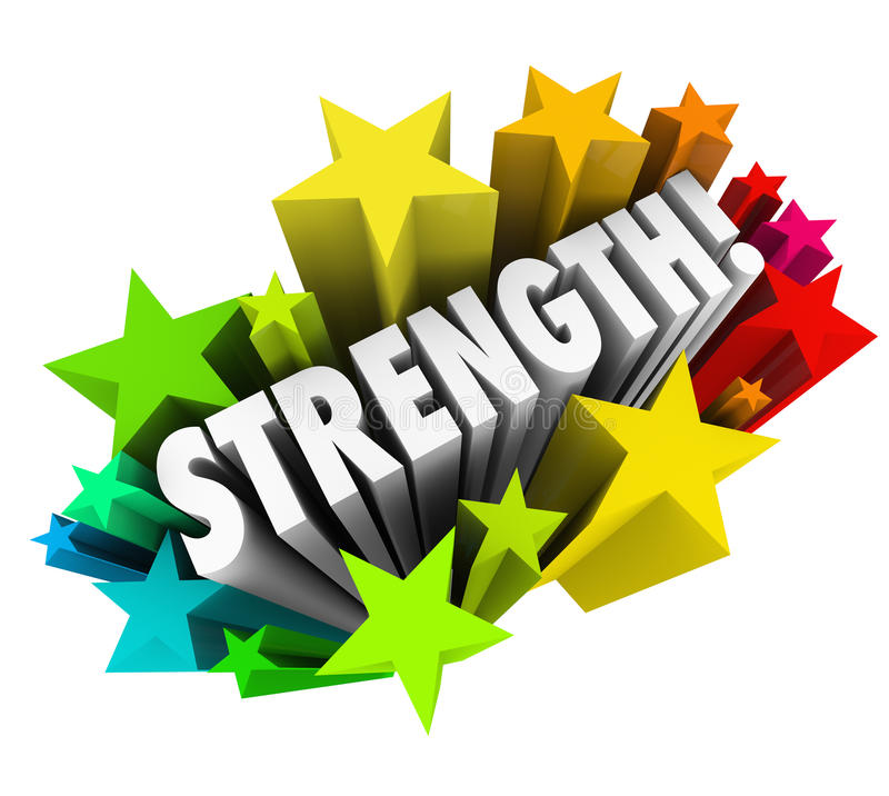 Strength Stars Word Strong Competitive Advantage vector illustration