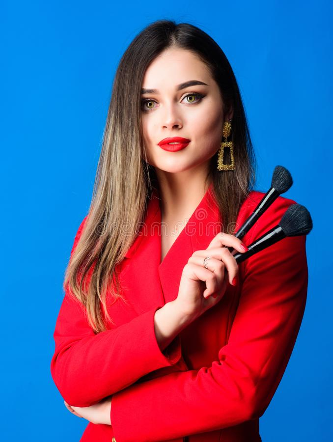 Strengthen confidence with bright makeup. Perfect skin tone. Makeup artist concept. Looking good and feeling confident stock photos