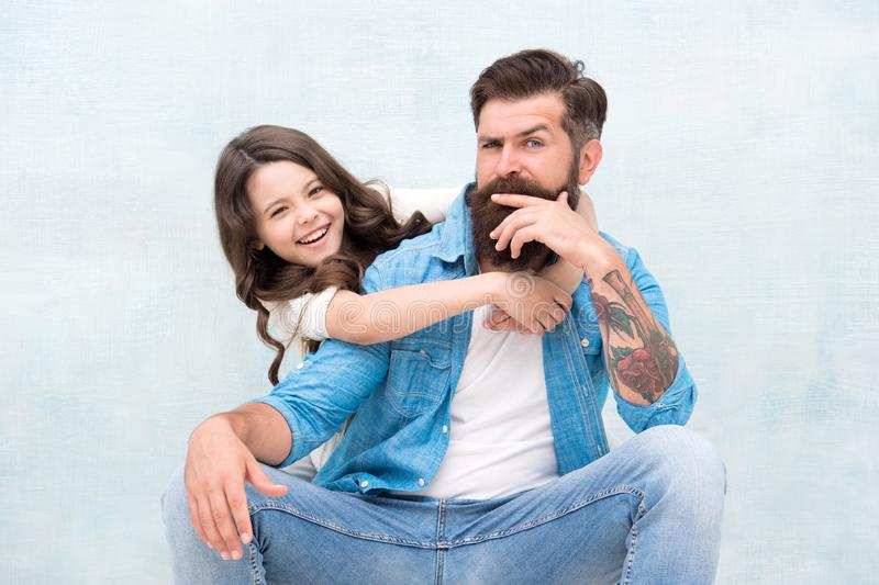 Strengthening father daughter relationships. Child and dad best friends. Friendly relations. Fathers day concept. Lovely stock photography