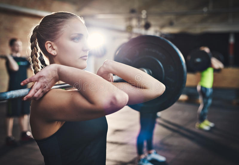 Strengthening with weights stock photography