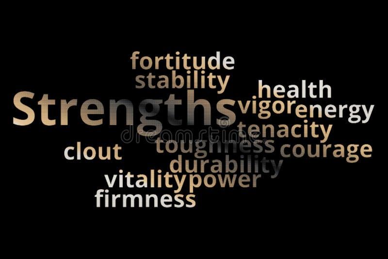 Strengths słowa chmury kolaż royalty ilustracja