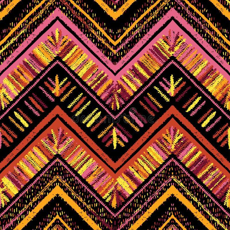 Strepen helder stammen naadloos patroon met zigzag vector illustratie