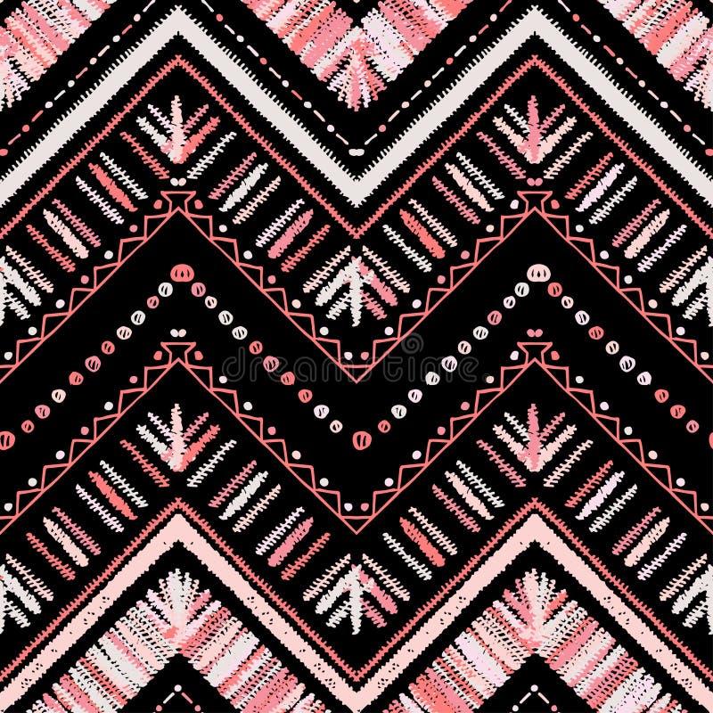 Strepen helder stammen naadloos patroon met zigzag royalty-vrije illustratie