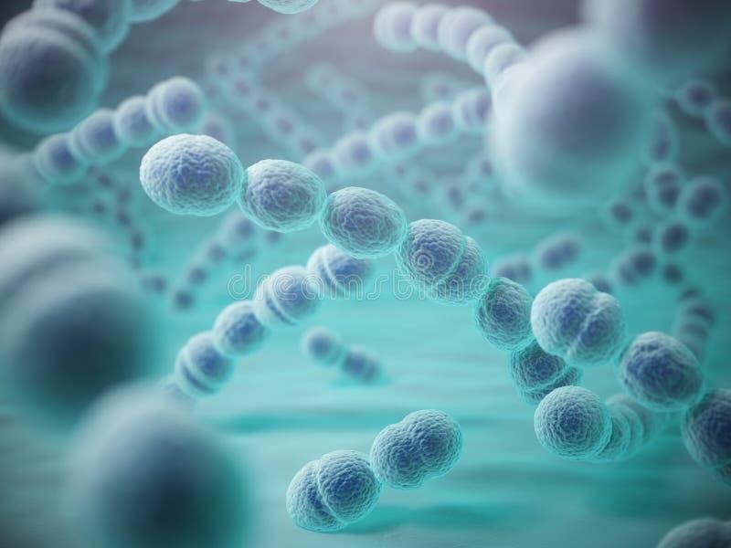 Streptokok pneumoniae of pneumococcusbacterias royalty-vrije illustratie