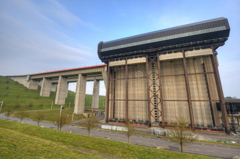 Strepy-Thieu boat lift. On the Canal du Centre, Belgium royalty free stock photography