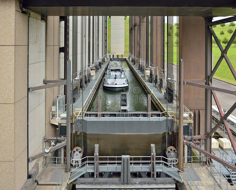 Strepy-Thieu boat lift on the Canal du Centre. In municipality Le Roeulx, Walloon, Belgium during lifting of a boat royalty free stock image