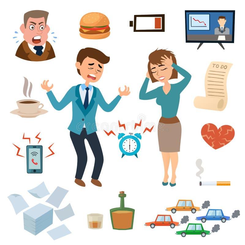 Stresów ludzie wywierają nacisk miejsce pracy męczącą nieszczęśliwej dorosłej smutnej problemowej frustraci ustaloną wektorową il ilustracji